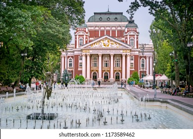 SOFIA, BULGARIA - 27 Aug 2018: The Ivan Vazov National Theatre, Bulgarian national theatre, the oldest and most authoritative theatre in the country and one of the important landmarks