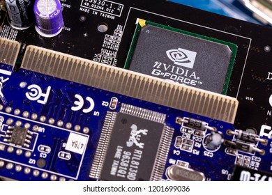 Sofia, Bulgaria - 27 July 2018: NVIDIA GeForce chip is seen on a printed circuit board PCB. Computational equipment.