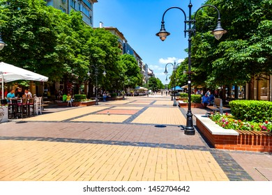 Sofia, BULGARIA - 27 June 2019:  Vitosha Boulevard, main commercial street in the centre of Sofia, the capital of Bulgaria, which is abundant in posh stores, restaurants and bars