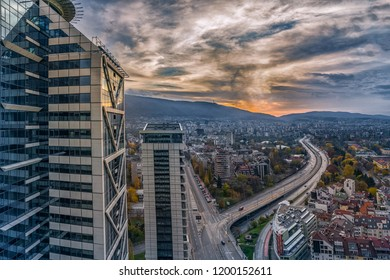Sofia, Bulgaria - 28 September 2018: Beautiful panoramic view over Sofia cityscape at sunset