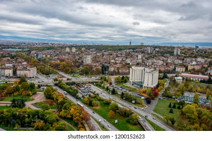 Sofia, Bulgaria - 28 September 2018: Beautiful panoramic view over Sofia cityscape