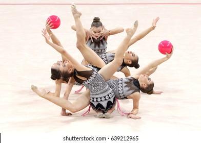 Sofia, Bulgaria - 7 May, 2017: Team Bulgaria performs during Rhythmic Gymnastics World Cup Sofia 2017. Group tournament.