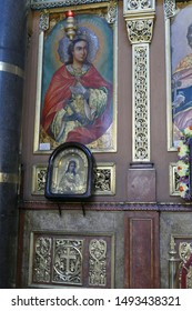 SOFIA, BULGARIA - APR 13, 2019 - Icons on the Iconostasis that separates nave from apse in St. Kyriaki church, Sofia, Bulgaria