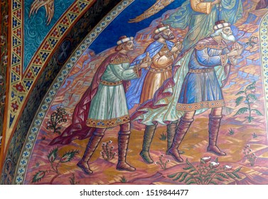 SOFIA, BULGARIA - APR 13, 2019 - Frescoes on the interior walls of St. Kyriaki church, Sofia, Bulgaria