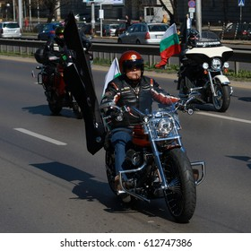 Sofia, Bulgaria - April 1, 2017: Bikers celebrated the opening of motorcycling season by ride over city in Sofia, Bulgaria on April 1, 2017