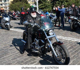 Sofia, Bulgaria - April 1, 2017: Bikers celebrated the opening of motorcycling season by ride over in Sofia, Bulgaria on April 1, 2017