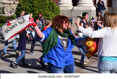 Sofia, Bulgaria - April, 1, 2017: Young people are fighting pillows at event Big Pillows Battle in Sofia