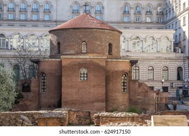 SOFIA, BULGARIA - APRIL 1, 2017: view of Church St. George Rotunda in in Sofia, Bulgaria