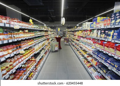 Sofia, Bulgaria - April 12, 2017 :  Full shelves in a supermarket before beginning  of th Easter hollydays