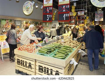 Sofia, Bulgaria - April 12, 2017 :  People shopping in a supermarket before beginning  of th Easter hollydays