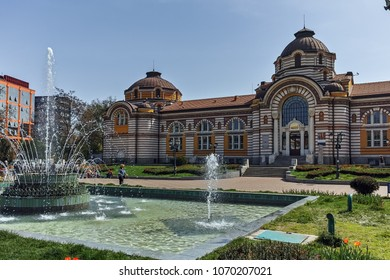SOFIA, BULGARIA - APRIL 13, 2018:  Garden Central Bath and Banski Square in Sofia, Bulgaria