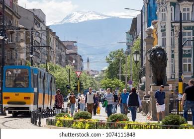 SOFIA, BULGARIA - APRIL 21: Sofia tramway network in Sofia, Bulgaria on April 21, 2018. Sofia is the capital and largest city of Bulgaria.