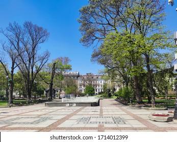 SOFIA, BULGARIA - APRIL 24, 2020: Square In front of National Theatre Ivan Vazov in Sofia, Bulgaria