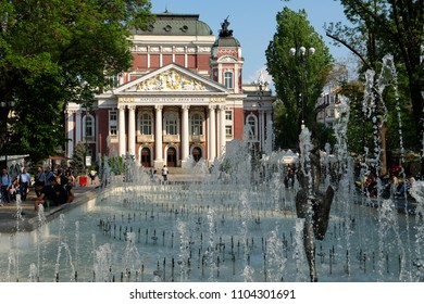 SOFIA, BULGARIA - APRIL 25 2018: Ivan Vazov National Theatre with Fontains in front.