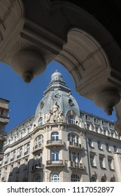 SOFIA, BULGARIA - AUGUST 02, 2017: beautiful architecture DZI headquartered in a six-storey landmark building in the centre of Sofia built 1914-1926 by architect G. Fingov