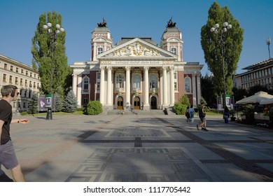 SOFIA, BULGARIA - AUGUST 02, 2017: front view of the Ivan Vazov National Theatre in the city center
