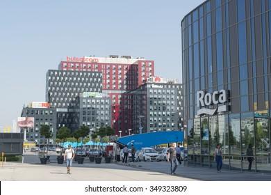 Sofia, Bulgaria - August 05, 2015: stylish business buildings in the city of Sofia. Sofia is the capital of Bulgaria.