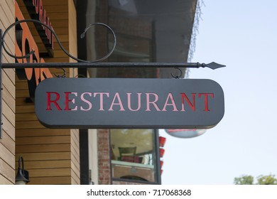 """SOFIA, BULGARIA - AUGUST 09, 2017:Information index, a sign with the inscription """"Restaurant"""""""