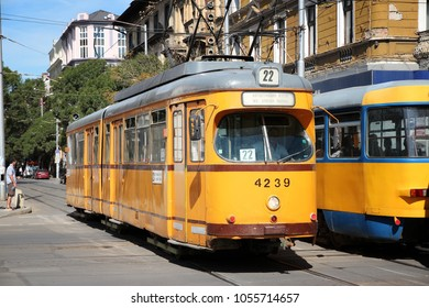 SOFIA, BULGARIA - AUGUST 17, 2012: Passengers ride Sofia Tram in Bulgaria. Sofia Tramway remains one of longest tram systems in Europe (195km), despite the rise of Sofia Metro.