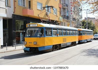 SOFIA, BULGARIA - AUGUST 17, 2012: Passengers ride Sofia Tram in Bulgaria. Sofia Tramway remains one of longest tram systems in Europe (195km), despite the rise of Sofia Metro.