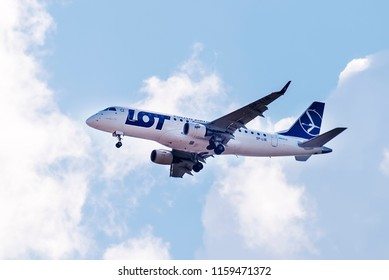 Sofia, Bulgaria - August 18, 2018. An LOT Polish Airlines Embraer 175 (SP-LIB) approaches for landing at Sofia International Airport.