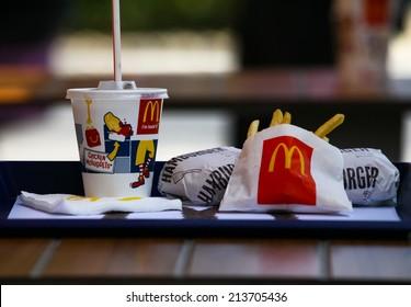 SOFIA, BULGARIA - AUGUST 23, 2014: McDonalds Meal on a stret background near their restaurant