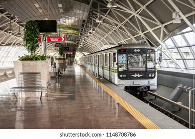 SOFIA, BULGARIA. August 3, 2018. Sofia Airport metro station platform with underground train waiting for the passengers to arrive. Vrazhdebna airport.