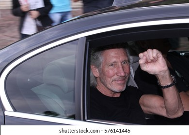 Sofia, Bulgaria - August 31, 2013 :    The english singer and composer George Roger Waters visits military cemetery from WW2 before his concert in Sofia