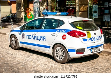 SOFIA, BULGARIA. August 5, 2018. Bulgarian police car parked by the side of the Ekzarh Yosif street. Police car in Bulgaria stock image.