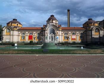 Sofia Bulgaria beautiful public mineral bathes building with fountain