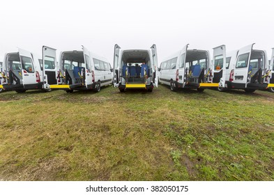 Sofia, Bulgaria - December 13, 2014: Minibus for physically disabled people.