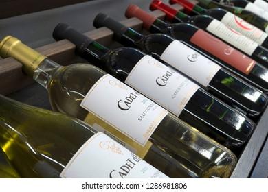 Sofia, Bulgaria - December 14, 2013: Baron Philippe de Rothschild  Cadet d'Oc wine series. Baron Philippe de Rothschild makes varietal wines from the south of France.