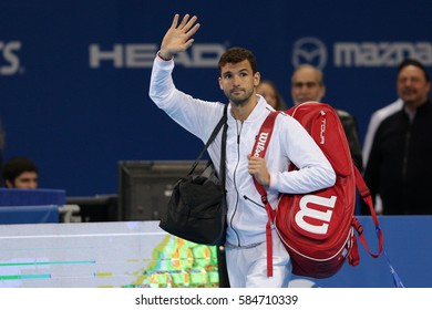 Sofia, Bulgaria - February 10, 2017: Grigor Dimitrov (pictured) from Bulgaria before playing against Viktor Troicki from Serbia during a match from Sofia Open 2017 tennis tournament.