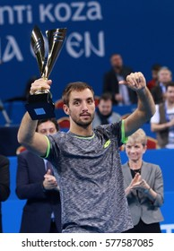 Sofia, Bulgaria - February 12, 2017: Nenad Zimonjic and Victor Troicki grabbed the title in doubles in the Sofia Open second edtion. The Serbians defeated 6:4, 6:4 Mikhail Elgin and Andrey Kuznetsov