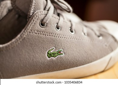 SOFIA, BULGARIA - FEBRUARY 28, 2018:Closeup of Lacoste brand Shoes. Lacoste a french company for the production of clothing, shoes, perfumes, leather goods.