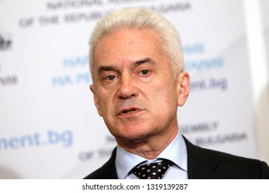 "SOFIA, BULGARIA - JANUARY 1: Bulgarian nationalist party ""Ataka"" leader Volen Siderov speaks in front media in Bulgarian parliament, Jan 1, 2015, Sofia, Bulgaria."