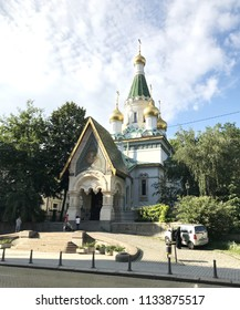SOFIA, BULGARIA - JULY 01, 2018: The Russian Church is a Russian Orthodox church in central Sofia, Bulgaria, situated on Tsar Osvoboditel Boulevard.