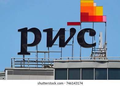 Sofia, Bulgaria - July 04, 2017: Logo of PricewaterhouseCoopers - a multinational professional services network headquartered in London. It is the largest professional services firm in the world