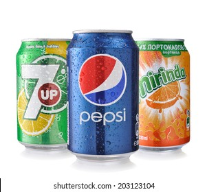 SOFIA, BULGARIA -JULY 06, 2014: Pepsi, Mirinda and 7UP Cans Isolated On White. The three drinks produced by the PepsiCO Company