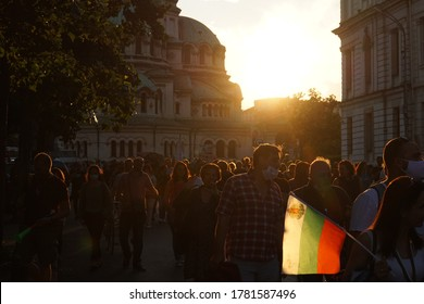 Sofia / Bulgaria - July 16 2020: Crowd of protesters against corruption in Bulgaria and the Prime Minister Boyko Borissov, holding bulgarian on the streets