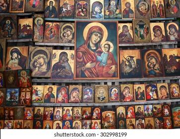 Sofia, Bulgaria - July 17, 2014 - Wood made Orthodox religious painting icon, in downtown Sofia, Bulgaria.