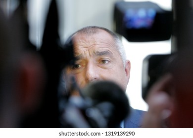 SOFIA, BULGARIA - JULY 2: Ex-Prime Minister and Leader of GERB Boyko Borisov speaks in front media in Bulgarian parliament, Jul 2, 2014, Sofia, Bulgaria.