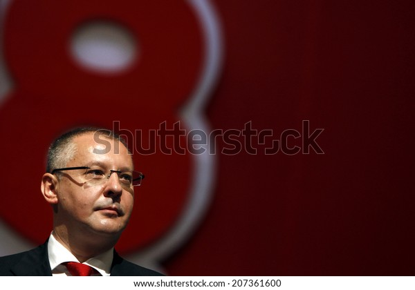 SOFIA, BULGARIA - July 27: Outgoing leader of the BSP and president of the Party of European Socialists (PES) Sergei Stanishev, during party's 48th Congress, Jul 27, 2014, Sofia, Bulgaria.