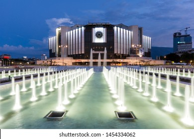 SOFIA, BULGARIA - JULY 3, 2016: Amazing Sunset view of Fountain in front of National Palace of Culture in city of Sofia, Bulgaria
