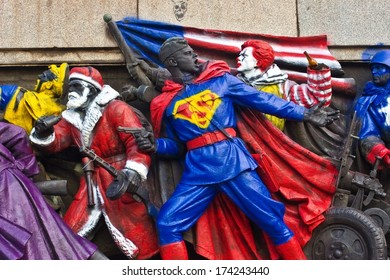 SOFIA, BULGARIA, JUN 17: June 2011 Monument of Soviet Army, was painted from an anonymous artist. He transformed statues into superheroes / cartoon characters: Superman, Santa Claus, Ronald McDonald