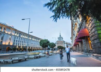 Sofia, Bulgaria - Jun 28 , 2016: Pedestrians walk through main city boulevard after a hot summer day
