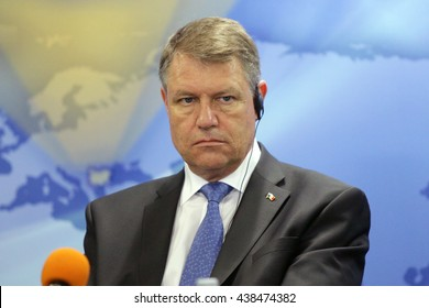 Sofia, Bulgaria - June 15, 2016: The President of Romania Klaus Iohannis is participating in a press conference in Sofia during his two days official visit in Bulgaria.