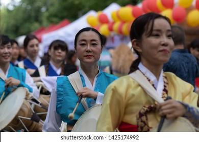 "SOFIA, BULGARIA - June 15, 2019- traditional female Korean percussions participate in Asian Festival Sofia ""Magic Of the East"""