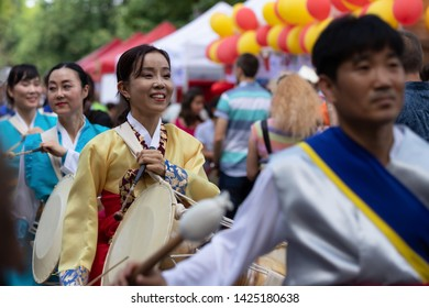 "SOFIA, BULGARIA - June 15, 2019- Korean traditional percussion performers during Asian Festival Sofia ""Magic Of the East"""