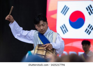 "SOFIA, BULGARIA - June 15, 2019 - Male drummer from Korea participate in Asian Festival Sofia ""Magic Of the East"""